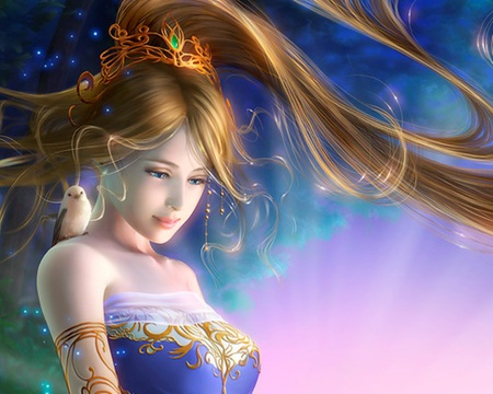 Fantasy  - princess, anime, magic, cute, sweet, bird, sexy, female, lady, maiden, hot, nice, animal, beauty, beautiful, fantasy, girl, anime girl