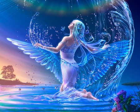 Naiad - wings, great, anime, sweet, angel, sexy, aqua hair, awesome, female, sublime, wet, blue, gorgeous, fantasy girl, long hair, hot, water, realistic, nice, spendid, beauty, beautiful, lovely, fantasy, girl, pretty, bubbles, divine