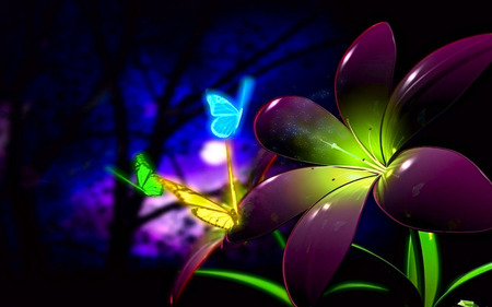 Fluorescent 3D Flowers - 3d, 3d flowers, abstract, butterflies, colorful, color, flowers, fluorescent, 3d flower
