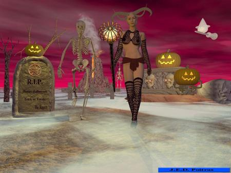 Horney - female, demon, halloween, horned, jack-o-lanterns