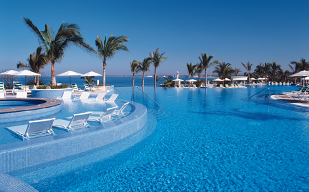 Blue paradise - amazing, refreshing, chairs, pool, blue, paradise, water, palm trees, crystal clear