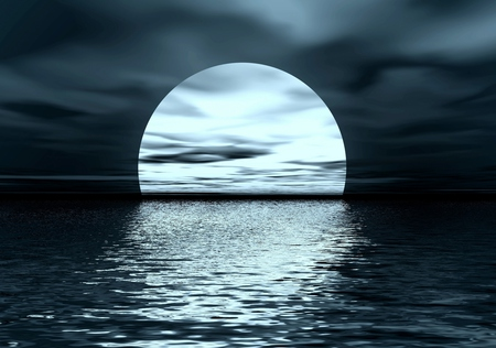 Full Moon - moon, clouds, peaceful, night, beauty, waves, nature, sea, moonlight, beautiful, sky, ocean, water, reflection