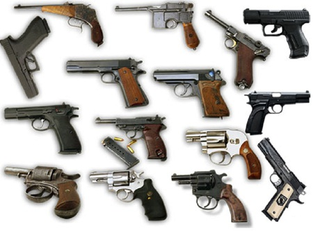 Side-Arms - revolvers, automatics, guns, pistols