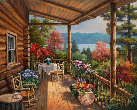 Log Cabin by the Lake - flowers, lake, window, evening, rocking chair, chairs, art, tree, cottage, sitting, porch, house, veranda, mountains, summer, trees, season, painting, table, fence, cabin, sea