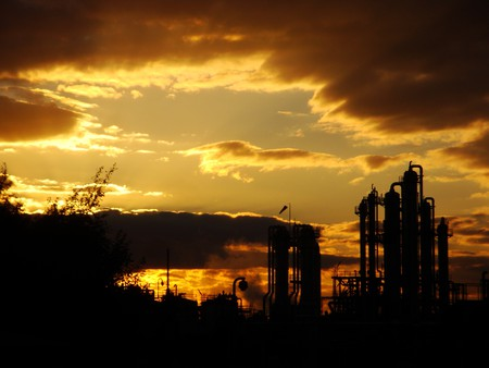 industrial landscape - trees, sky, abstract, surreal, industry, landscape, clouds, sunset, factorys, sun, nature, weather