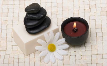 cappucino candle - cappucino, relax, flower, candle, feng shui, design, spa, rocks