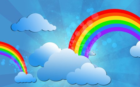 blue cloud with rainbow wallpaper - photo #2