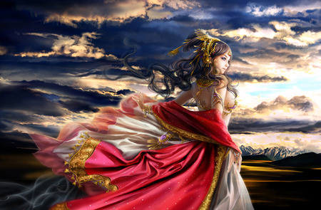 Dawn - orange, blue, abstract, pretty, art, women, yellow, female, purple, gold, fantasy, veils, colours, strong, gorgeous, other, armor, long hair, cute, gown, clouds, chinese art, metal, 3d, body, people, beautiful, pink, figure, quenn, sunset, silk, woman, white, red, fine art, black, sky, colors, brown, dawn, cg