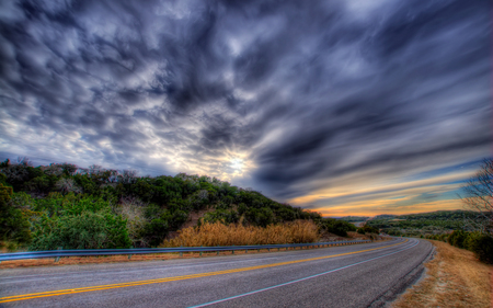 Road To... - green, beautiful, trees, road, colorful, sky, colors, beauty, landscape, clouds, sunset, grass, nature, hills