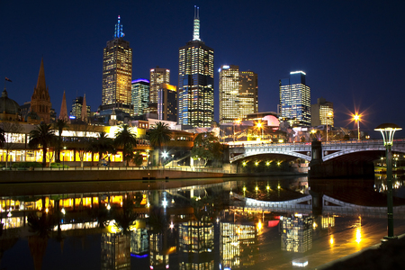 City Lights - beautiful, road, river, reflection, view, beauty, architecture, night, house, skyscrapers, skyline, trees, colorful, sky, colors, lights, houses, lanterns, buildings, melbourne, bridge, peaceful, city