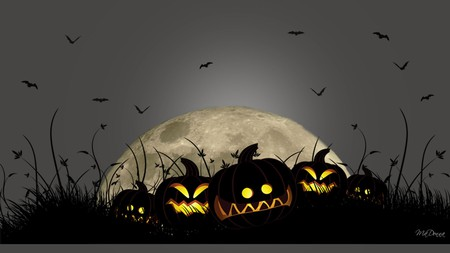 Smiling Jacks - moon, scary, night, holiday, pumpkins, bats, halloween, firefox persona, jack o lanterns