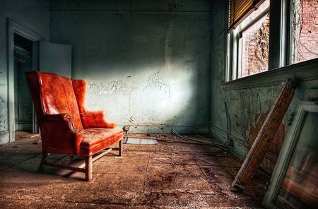 Red Chair - window, photography, abstract, old, red, chair, wall, room