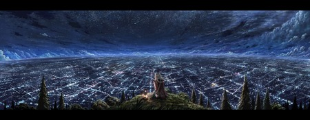 Stargazing - scenery, hill, sky, stars, lamp, clouds, forest, city, braids