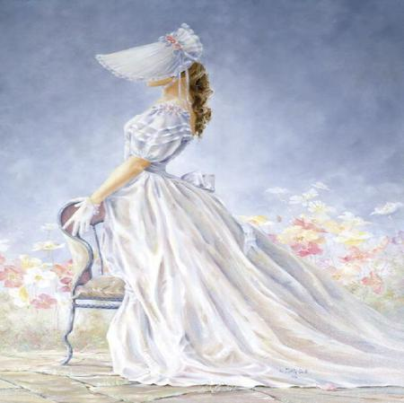 Southern Belle - silk, bonnet, painting, chair, posing, dress