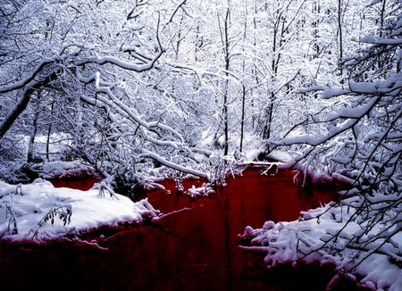 Blood River - 3d and cg, other, abstract, trees, goth, rivers, creek, snow, winter, river, blood, landscape