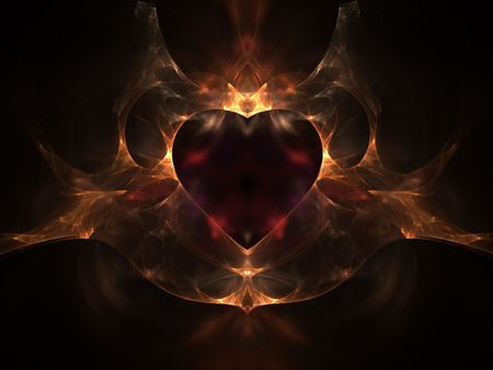 Flaming Heart - 3d, abstract, love, valentines day, heart