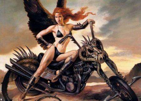 Biker Angel - motorcycle, bike, wings, tail, angel, bikini, vallejo, female, lady, winged, kool, fairy, fantasy, ride, skull, boris vallejo, chopper, biker, julie bell