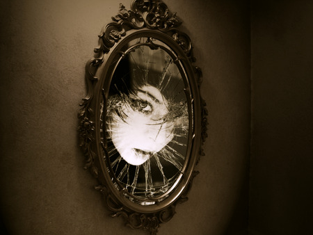 Scary Mirror - girl, reflection, abstract, scary, mirror, fantasy