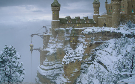 SNOWY CASTLE - snowy, castle, mountain, trees