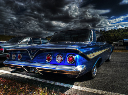 61 chev impala - chev, road, black, sky, hdr, old, blue, antique, clouds, impala
