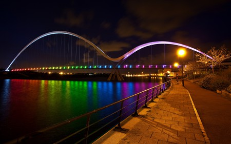 Reflection - rainbow, clouds, peaceful, nature, view, grass, road, lights, water, way, colors, city, night, beauty, lanterns, bridge, colorful, architecture, beautiful, alley, splendor, river, sky, reflection