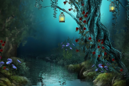 Fantasy - flowers, story, garden, beautiful, river, forests, rocks, abstract, tree, beauty, night, water, lamp, lamps, flower, grass, forest, red, fantasy, woods, rose, trees, colors, lights, lovely, lanterns, basm, red roses, roses, nature, peaceful, lantern