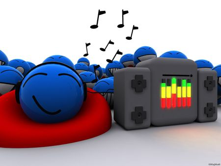 Blue Faces - abstract, fun, music, 3d