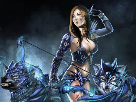 Hunting with Wolves - cg, blue, bow, hunter, warrior, animal, arrows, fantasy, girl, wolves, female, armour