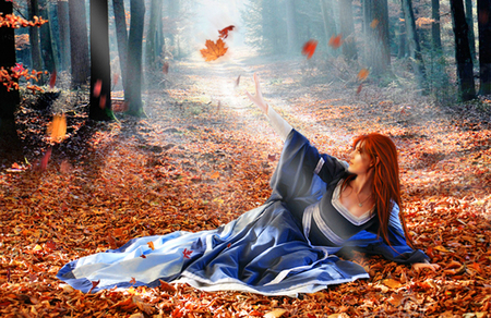 Autumn fire - leaves, woman, fantasy, autumn