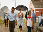 The First Family in the rain.