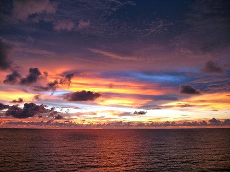 Amazing Sunset - clouds, blue, colour, sea, sun, yellow, sky, orange, evening, water