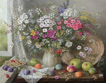 Country Bouquet - flowers, ceramic pitcher, window, painting, table, plate, window ledge, fruits, straw hat, curtain