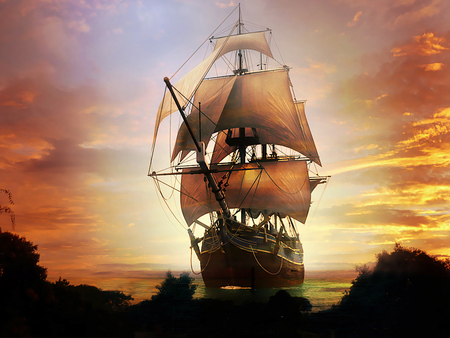 Old Spanish Galleon - ship, galleon, war, boat