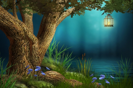 Fantasy - splendor, flowers, lake, beautiful, blue, pretty, tree, beauty, night, water, lamp, fog, grass, fantasy, green, colors, lovely, leaves, light, nature, peaceful, lantern
