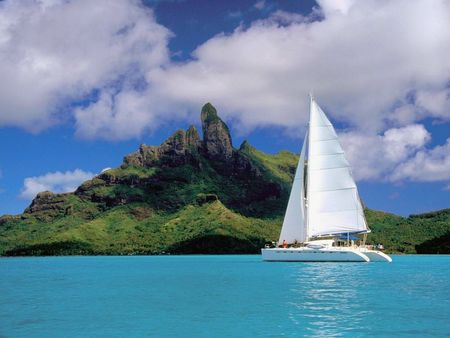 Catamaran - bora bora, beach, landscape, lagoon, french, catamaran, polynesia, ship, nature, french polynesia, ocean