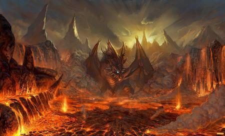 Hell Dragon - hell, volcano, fire, dragon