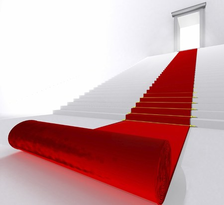 Red Carpet - stairs, hollywood, 3d, abstract, red carpet, red, carpet