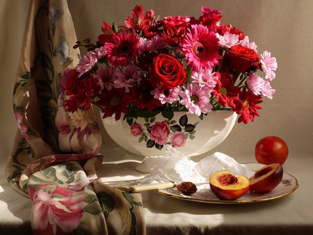 Beautiful - flowers, peaches, gebreras, beautiful, pretty, vase, silverware, roses, silk, plate, white, fruits, red