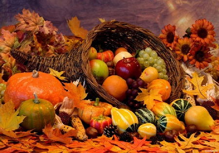 Festive fall - pumkins, orange, beautiful, grapes, apples, fall, leaves, sunflowers, fruits, cornucopia, oranges