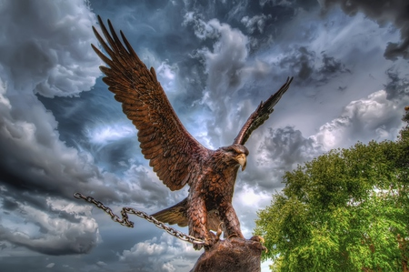 Eagle - green, beautiful, statue, trees, sky, colors, tree, beauty, chain, birds, leaves, clouds, eagle, bird