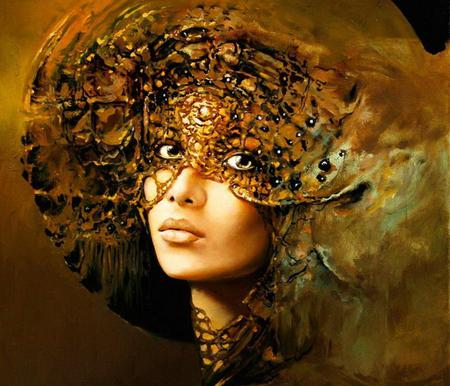 beautiful people - amber, painting, face, art, karol bak