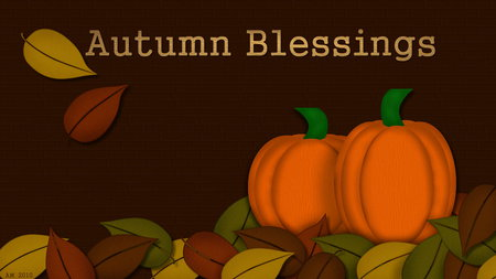 Autumn Blessings - leaf, fall, autumn, seasons, pumpkin, leaves, thanksgiving, nature, cg