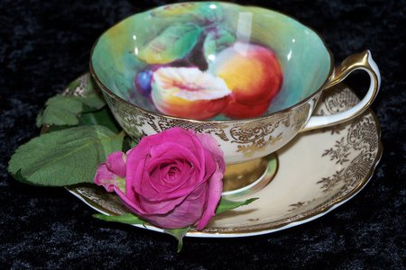 Tea - rose, cup, tea, pink, fruits, indoor