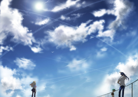 anime landscape - scenery, boy, male, macross frontier, short hair, cloud, blue, anime, girl, scenic, landscape, female, scene, sky, macross, long hair, anime girl