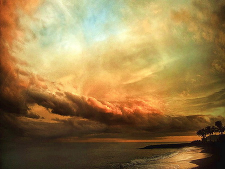 Sky artistry - gold, clouds, shoreline, blue, reflections, colored, sky, orange, white, water