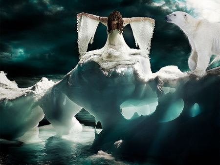 Ice queen - glacier, clouds, woman, sky, nature, polar bear, sea, dress
