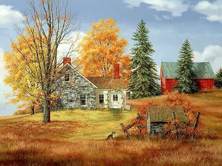Autumn farm - shed, red barn, leaves on fround, autumn, gold and orange, stone house, vines, trees