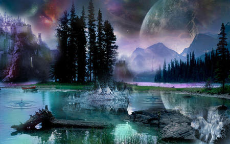 Spirit Island - moon, space, mountains, spirit