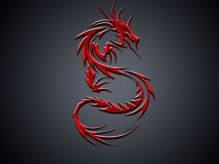 Red dragon - abstract, red dragon, red, fantasy, dragon
