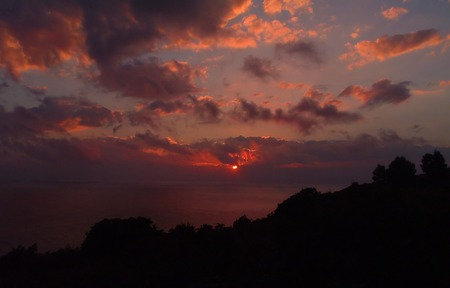 Elba Island Italy - patterns, orange, trees, silhouette, pink, blue, serene, clouds, sunset, grey, red